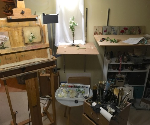 "My studio set up while painting ""Purpose"". A late night, but it was successful!"
