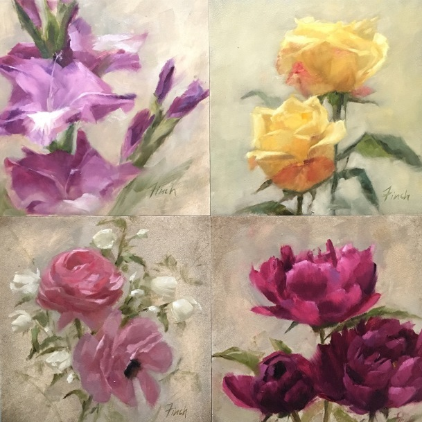 The last 4 paintings together. I am really enjoying seeing all of these paintings grouped together.